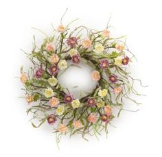 Ring in the spring with the Melrose International Mini Ranunculus Wreath , highlighted with colorful mini ranunculus flowers in soft pastel tones. Exotic Flowers, Faux Flowers, Wild Flowers, Ranunculus Flowers, Trendy Home Decor, Hybrid Tea Roses, Planting Flowers, Orchids, Garden Design