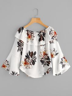 Shop Flounce Layered Neckline Fluted Sleeve Florals Top online SheIn offers Flounce Layered Neckline Fluted Sleeve Florals Top more to fit your fashionable needs Frock Fashion, Modest Fashion, Fashion Dresses, Shirt Patterns For Women, African Print Fashion, Cute Outfits, Girl Outfits, Blouse Designs, Chiffon Tops