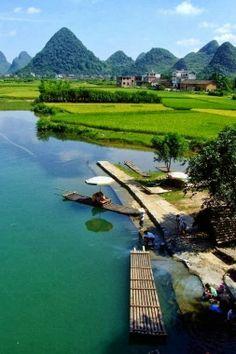 ♥ Yangshuo, Guilin, China  Don't miss rafting on Yulong River!!