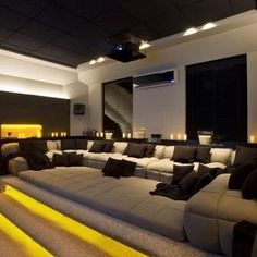 Browse home theater design and living room theater decor inspiration. Discover d… Browse home theater design and living room theater decor inspiration. Discover designs, colors and furniture layouts for your own in-home movie theater. Home Theater Room Design, Home Cinema Room, Home Theater Decor, Best Home Theater, At Home Movie Theater, Home Theater Rooms, Home Theater Seating, Attic Theater, Home Room Design