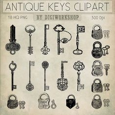 Antique Keys Clip Art  Antique Keys Clipart clip por DigiWorkshop