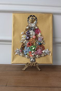 Vintage jewelry Christmas tree collage Assemblage OOAK Colorful Bright wall art Enamel flower Up cycled Antique Rhinestone Gold Red Green by SusieKays on Etsy