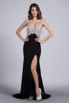 2014 Full Beaded Tulle Bodice Backless Sexy Prom Dress Court Train Black US$ 179.99 BFPPRDS3M5 - BlackFridayDresses.com