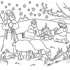 kleurplaat herders, kerst