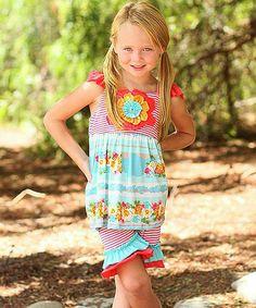 Loving this Jade Floral Babydoll Tunic & Ruffle Shorts - Girls on #zulily! #zulilyfinds