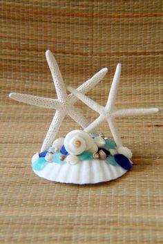 BEACH WEDDING STARFISH  SEA GLASS CAKE TOPPER,Beach Wedding Cake Topper ~ WOW !