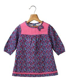 Look what I found on #zulily! Blue & Pink Floral A-Line Dress - Infant, Kids & Tween by Beebay #zulilyfinds