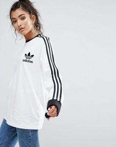adidas Originals White Three Stripe Long Sleeve T-Shirt