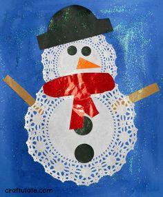 Doily Snowmen Craft - a fun winter activity for kids