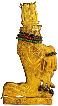 Amulet from Tutankhamun's tomb Ancient Egypt. The Egyptian Museum, Cairo Gold, wood, gems, cen. BC Category Objects Trend in art Egyptian Art Kemet Egypt, Egyptian Pharaohs, Egypt Museum, Cairo Museum, Egypt Mummy, Egypt Jewelry, Ancient Egyptian Jewelry, Egypt Art, Ancient Artifacts