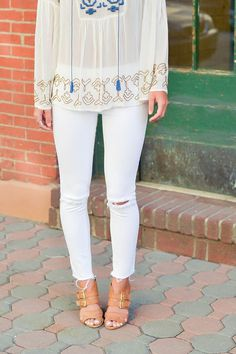 anthropologie top, all white outfit, summer whites, summer outfits, summer outfit ideas, vacation style, white jeans, white denim