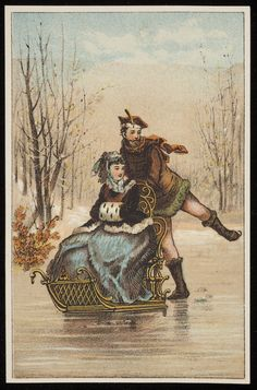 Trade card, male skater pushes a woman in a sleigh, location unknown, undated | Ephemera collection (EP001) -- Historic New England