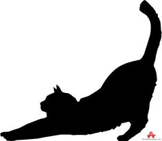 Cat Stretching Silhouette | Free Clipart Design Download #CatSilhouette