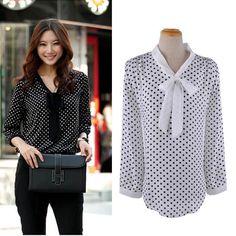 Best 1PC Women Loose Casual Chiffon Long Sleeve Shirt Tops Lady Blouse I-eat