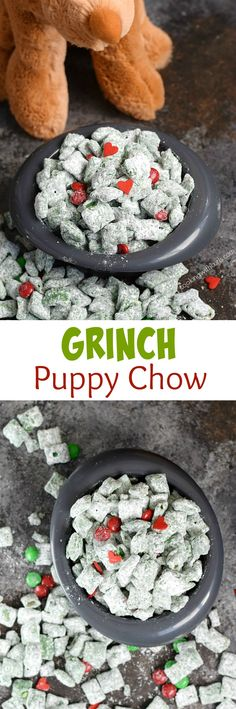 Max and everyone in Who-ville will love this Grinch Puppy Chow during the holidays! The peanut butter and chocolate flavors will have everyone singing! Grinch Christmas Party, Christmas Snacks, Christmas Goodies, Holiday Treats, Holiday Recipes, Christmas Ideas, Grinch Party, Holiday Foods, Party Recipes