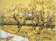Vincent van Gogh Orchard with Blossoming Plum Trees (The White Orchard) 1888 pen & ink heightened with opaque white  39.5 x 53.6 cm