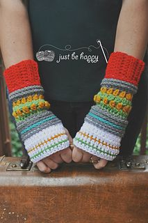 Hop, Skip & Jump Mitts, crochet pattern by Alessandra Hayden for sale on Ravelry