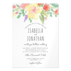 Rustic Watercolor Flowers & Typography | Wedding Magnetic Card - wood gifts ideas diy cyo natural