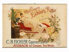"""Werbeplakat für die Zigarre """"Eichlers Rose"""", um 1900"""
