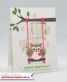 Splotch Design - Jacquii McLeay - Stampin Up - Sweet Swinging Owl Card