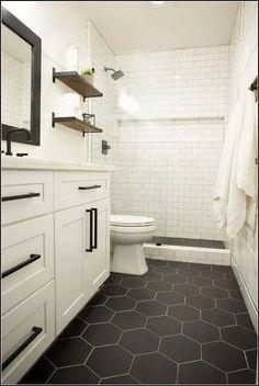 bathroom remodel on a budget & bathroom remodel & bathroom remodel on a budget & bathroom remodel small & bathroom remodel master & bathroom remodel diy & bathroom remodel ideas & bathroom remodel before and after & bathroom remodel with tub Diy Bathroom Remodel, Bath Remodel, Bathroom Interior, Modern Bathroom, Black Bathroom Floor, White Vanity Bathroom, Bathroom Makeovers, White Bathroom Cabinets, Boy Bathroom
