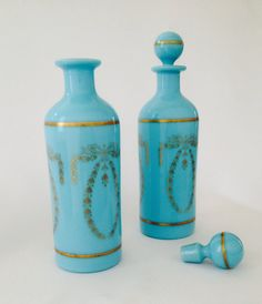 Blue Milk Glass Vanity Bottles French Portieux by SixpenceBride