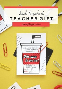 This One Is On Us Back-to-School Printable Tag - The Pretty Life Girls | Attach this tag to a bottle of soda or a soda shop/Starbucks gift card for a fun back-to-school teacher gift idea! #teachergift #printabletag #gifttags #teachergiftidea #backtoschoolideas #backtoschoolgift Back To School Teacher, Back To School Gifts, Teacher Appreciation Gifts, Teacher Gifts, Printable Tags, Printables, Novelty Gifts For Men, Starbucks Gift Card, Gift Tags