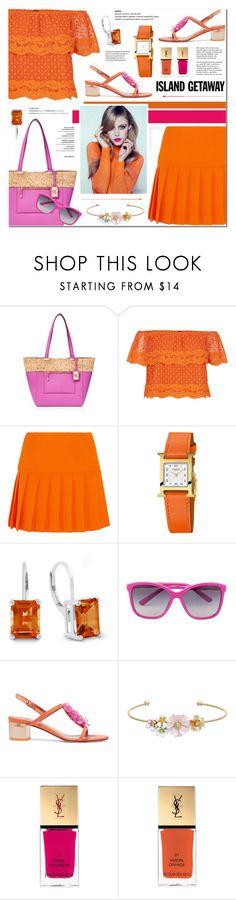 """Chic Island Getaway - Orange & Pink"" by anyasdesigns ❤ liked on Polyvore featuring Ralph Lauren, New Look, Miu Miu, Hermès, Dolce&Gabbana, RED Valentino, LC Lauren Conrad, Yves Saint Laurent, Tiffany & Co. and Retrò"