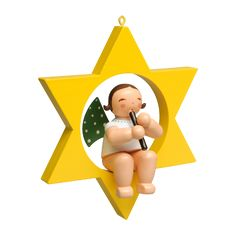 Engel mit Blockflöte im Stern Wendt Kühn, Tweety, Fictional Characters, Christmas Jewelry, Angel, Stars, Figurine, Fantasy Characters