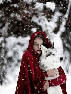 "Almost like in the fairy tale ""Little Red Riding Hood and the Wolf"", here only in an enchanting .- Almost like in the fairy tale ""Little Red Riding Hood and the Wolf"", only here in an enchanting winter world! Illustration Fantasy, Foto Fantasy, Fantasy Wolf, Wolf Love, Fantasy Photography, Photography Ideas, Winter Photography, Big Bad Wolf, Tier Fotos"