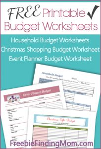 FREE printable budget worksheets including household budget, Christmas shopping budget and event planner budget #printablebudgetworksheet