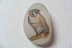 Owl  Original acrylic miniature painting on by ShePaintsSeaglass, $15.00