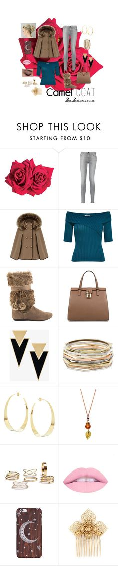 """""""Camel Coat"""" by dadrumma ❤ liked on Polyvore featuring Avon, 7 For All Mankind, Report, Dolce&Gabbana, Yves Saint Laurent, Kendra Scott, Lana, Miriam Haskell and camelcoat"""