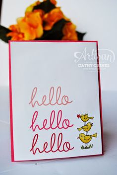 Cute, clean card using For the Birds set and Stampin' Up! Blendabilities markers. Created by Cathy Caines. @Stampin' Up!