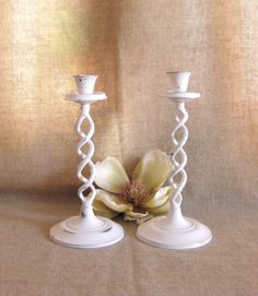 Cottage Chic Candle Holders for Wedding or Home by dewdropdaisies, $28.00