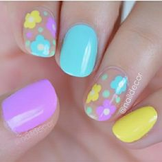 Love this mani for Easter! by IG 📽Spring Dot Flowers 💐 I used Cali Blast / Juicy Juicy & Grape Sodalicious / Bliss Kiss- Simply Peel latex barrier / 🎶 Justin Bieber skrillex & Diplo -'Where Are You Now Cute Nail Polish, Cute Nail Art, Cute Nails, Pretty Nails, Fabulous Nails, Gorgeous Nails, Spring Nails, Summer Nails, Nail Art For Kids
