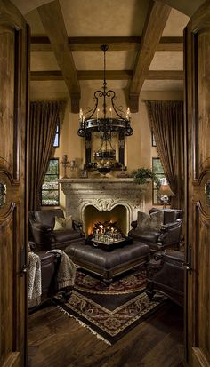 Mediterranean Design Configuration for chairs once we install fireplace in living room