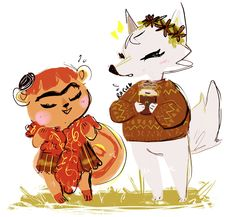 """mayorlavender: """" an unlikely pair. i really wish villagers could put flowers in their hairs ; Animal Crossing Fan Art, Animal Crossing Memes, Animal Crossing Villagers, Acnl Villagers, Animal Games, My Animal, Cute Games, Art Memes, New Leaf"""