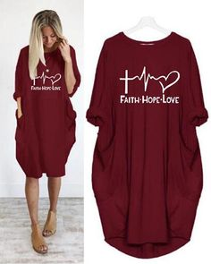 Summer Women Letter Printed Casual Pockets Plus Size Dress – Dressisi Cute Lazy Outfits, Casual Outfits, Mode Outfits, Fashion Outfits, Kinds Of Clothes, Plus Size Casual, Short Sleeve Dresses, Long Sleeve, Fall Fashion Trends