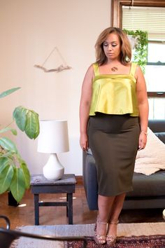 High Waist Midi Skirt by Liesl Binx #plussizefashion