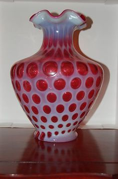 LARGE Cranberry Coin Dot Fenton Vase!