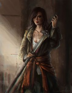 f Ranger urban leather 2 handed sword The tattoo is a particularly defining focal point. epic fantasy art [by anoratheirin] Fantasy Girl, 3d Fantasy, Fantasy Warrior, Fantasy Women, Medieval Fantasy, Fantasy Artwork, Fantasy Portraits, Character Portraits, Character Art