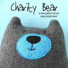 Stoff Bär - Stofftier/ Kuscheltier - Warren the Charity Bear - a free teddy bear pattern from Shiny Happy World Sewing Projects For Kids, Sewing For Kids, Free Sewing, Fleece Projects, Sewing Stuffed Animals, Stuffed Animal Patterns, Softies, Sewing Toys, Sewing Crafts