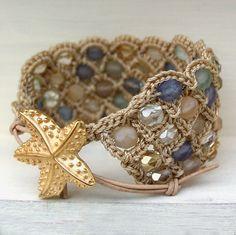 Bohemian Cuff Bracelet with Beach Glass Beads and Starfish Closure by GlowCreek