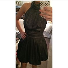 Shimmery black cocktail dress! ❤️ Never worn with tags. Shimmers throughout- perfect for the holiday season!  Says size 10 but I'm S and it fits perfectly on! Open back, ties around the neck. .                ▫️▫️▫️▫️▫️▫️▫️▫️▫️▫️▫️▫️▫️▫️▫️➡️Follow me on Instagram: @moveinstylemis.                                                     Like me on Facebook: Move in Style by Marta Bubka                                                           ✅ Subscribe to my YouTube channel: @moveinstylebymarta…