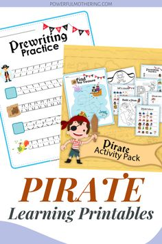 Kids love fun and learning worksheets.This printable worksheet is super fun, pirate themed and is filled with fun printables such as tracing worksheets, tracing patterns and even counting numbers! Who said learning numerals had to be boring right? Check out the blog for more details on these Pirate Learning Printables! Your little one will thank you for the preschooler activity, I guarantee. #artsandcrafts #educationalworksheets #preschooleractivity