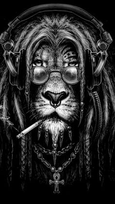 Fumbling Towards Ecstasy whitesoulblackheart: Lion rasta by Kamila Sharipova © Dont worry bout a thing,cause every little thing gonna be all right ♪ヽ( ⌒o⌒)人(⌒-⌒ )v ♪ (Please leave credit … Ƹ̴Ӂ̴Ʒ)<br> Lion Rasta, Lion Wallpaper, Lion Tattoo, Rasta Tattoo, Dope Art, Skull Art, Black Art, Big Cats, Comic Art