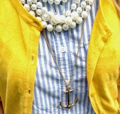 Spring Look    Picture    Description  yellow, blue, pearls, and anchors     https://looks.tn/season/spring/spring-look-yellow-blue-pearls-and-anchors/