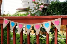 Gender Reveal Decoration, Banner, Baby Shower, Boy, Girl, Pink Blue Heart, Gender Neutral