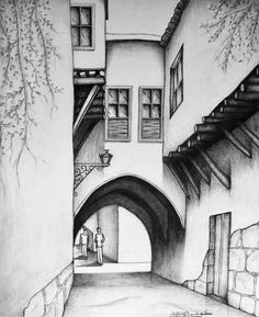 Scenery Drawing Pencil, Pencil Sketches Landscape, Landscape Drawings, Pencil Sketches Of Nature, Drawing With Pencil, Pencil Sketching, Architecture Drawings, Landscape Architecture, Landscape Paintings